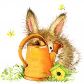Little bunny and garden tools. watercolor — 图库照片
