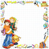 School children and Back to school background for celebration watercolor illustration — Stock Photo