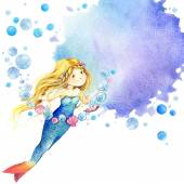 Underwater world. Mermaid watercolor illustration for children — Stock Photo
