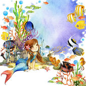 Underwater world. Mermaid and fish coral reef. watercolor illustration for children — Stock Photo