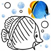 Coloring book coral reef fauna. Cartoon fish illustration.  Entertainment for kid — Stock Photo