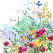 Summer rural field Herb flowers and butterfly background. watercolor illustration — Stockfoto