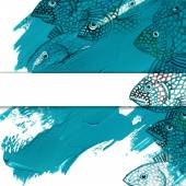 Sea fish watercolor illustration and blue brush stroke background — Stock Photo