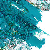 Sea fish watercolor illustration and blue brush stroke background — Stock Photo