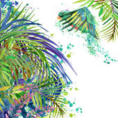 Tropical exotic forest, green leaves, wildlife, tropical bird Parrot, watercolor illustration. watercolor background unusual exotic nature — Stock Photo