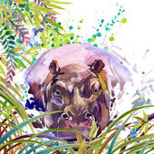 Tropical exotic forest, green leaves, wildlife, hippopotamus, watercolor illustration. watercolor background unusual exotic nature — Stock Photo