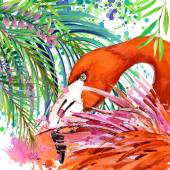 Tropical exotic forest, green leaves, wildlife, tropical bird flamingo, watercolor illustration. watercolor background unusual exotic nature — Stock Photo