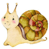Cartoon insect snail watercolor illustration. isolated on white background. — Stock Photo