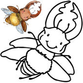 Coloring book funny Cartoon insect. — Stock Photo