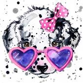 Dalmatian puppy dog T-shirt graphics. puppy dog illustration with splash watercolor textured  background. unusual illustration watercolor Dalmatian puppy fashion print, poster for textiles, fashion design — Stock Photo