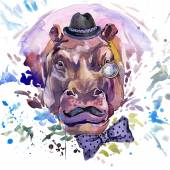 Hippopotamus T-shirt graphics. hippopotamus illustration with splash watercolor textured background. unusual illustration watercolor hippopotamus fashion print, poster for textiles, fashion design — Stock Photo