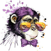 Cool monkey T-shirt graphics. monkey illustration with splash watercolor textured background. unusual illustration watercolor monkey fashion print, poster for textiles, fashion design — Stock Photo