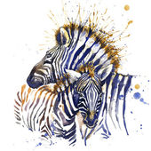 Zebra T-shirt graphics. zebra illustration with splash watercolor textured background. unusual illustration watercolor zebra fashion print, poster for textiles, fashion design — Stock Photo