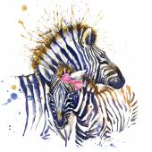 Zebra family T-shirt graphics. zebra illustration with splash watercolor textured  background. unusual illustration watercolor zebra for fashion print, poster, textiles, fashion design — Stock Photo