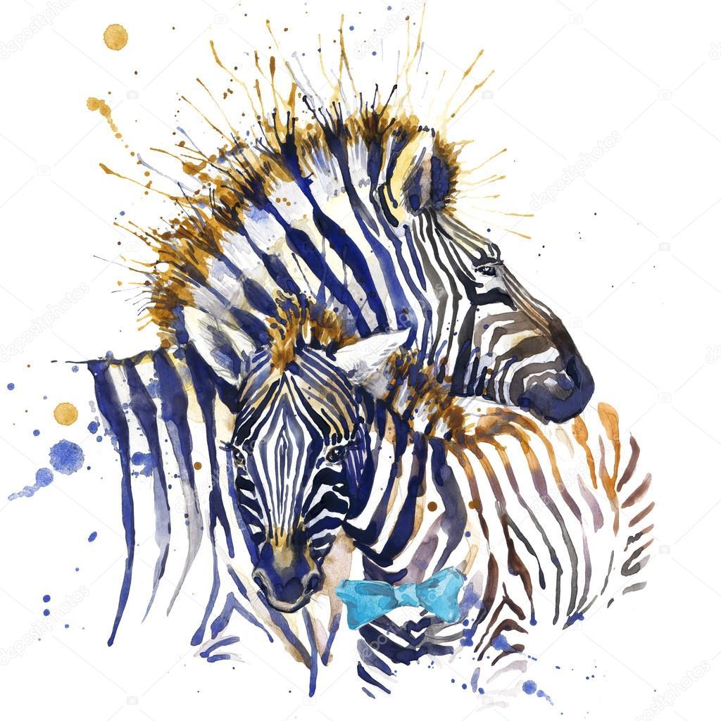 Zebra shirt design - Zebra Family T Shirt Graphics Zebra Illustration With Splash Watercolor Textured Background Unusual Illustration Watercolor Zebra For Fashion Print