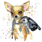 Toy terrier dog T-shirt graphics. toy terrier dog illustration with splash watercolor textured  background. unusual illustration watercolor dog for fashion print, poster, textiles, fashion design — Stock Photo