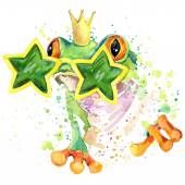 Cool frog T-shirt graphics. green frog illustration with splash watercolor textured  background. unusual illustration watercolor cool frog for fashion print, poster, textiles, fashion design — Stock Photo