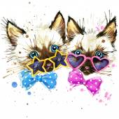 Kittens twins T-shirt graphics. kittens twins illustration with splash watercolor textured  background. unusual illustration watercolor kittens twins for fashion print, poster, textiles, fashion design — Stock Photo