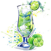 Cocktail fruit, ice and a splash. Hand drawn watercolor illustration — Stock Photo