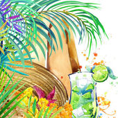 Beautiful young woman with fruit cocktail. tropical beach and tropical leaves with exotic flowers. watercolor illustration — Stock Photo