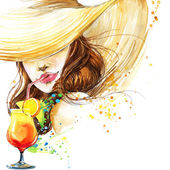 Beautiful young woman with fruit cocktail. Girl and beach cocktail party. cocktail party poster background. watercolor illustration — Stock Photo