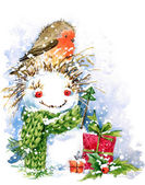 Christmas bird and Christmas background. watercolor illustration — Stock Photo