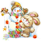 New Year and Christmas background for congratulations with funny Bunny.  watercolor illustration — Stock Photo