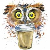 Coffee and owl T-shirt graphics. coffee and owl illustration with splash watercolor textured background. unusual illustration watercolor owl for fashion print, poster, textiles, fashion design — Stock Photo