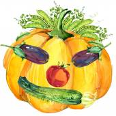 Label funny face vegetables. Assorted raw organic vegetables. watercolor illustration. watercolor vegetables and herbs background — Stock Photo