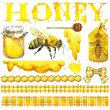 Honey, honeycomb, honey bee. Set for design label products from honey. Watercolor illustration — Stock Photo #81373282