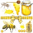 Honey, honeycomb, honey bee. Set for design label products from honey. Watercolor illustration — Stock Photo #81373288