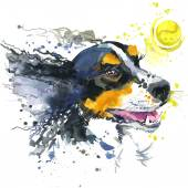 Dog and ball illustration with splash watercolor textured background. — Stock Photo