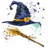 Halloween witch hat and broom witch. Watercolor illustration — Stock Photo