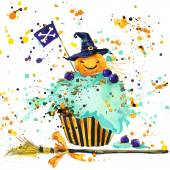 Halloween pumpkin, food and magic witch hat. Watercolor illustration background — Stock Photo