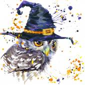 Halloween owl and witch hat. Watercolor illustration background — Stock Photo