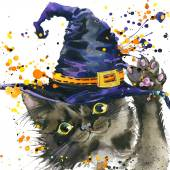 Halloween cat and witch hat. Watercolor illustration background — Stock Photo