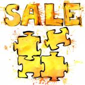 Text sale symbol puzzle, and packaging, packets, bags, and shopping, watercolor background autumn color, watercolor drips, splashes and drops texture — Stock Photo