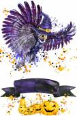Halloween owl and witch hat. Watercolor illustration background for the holiday Halloween. watercolor splash texture background. Halloween owl illustration — Stock Photo