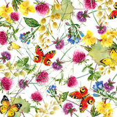 Herbs and flowers with butterfly background. watercolor illustration — Stock Photo
