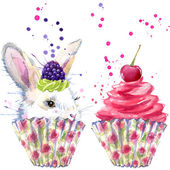 White rabbit and dessert with whipped cream T-shirt graphics, rabbit and dessert illustration with splash watercolor textured background. illustration watercolor rabbit fashion print, poster for textiles, fashion design — Stok fotoğraf