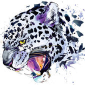 Snow leopard T-shirt graphics, snow leopard illustration with splash watercolor textured background. illustration watercolor snow leopard for fashion print, poster for textiles, fashion design — Stock Photo