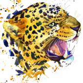 Leopard growls T-shirt graphics, leopard illustration with splash watercolor textured background. illustration watercolor leopard for fashion print, poster for textiles, fashion design — Stock Photo