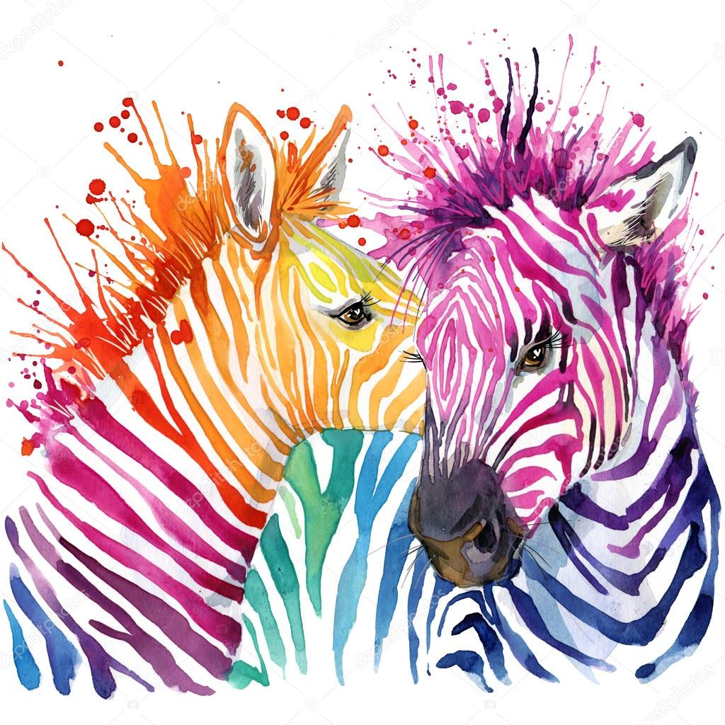 Funny zebra t shirt graphics rainbow zebra illustration for Poster jugendzimmer