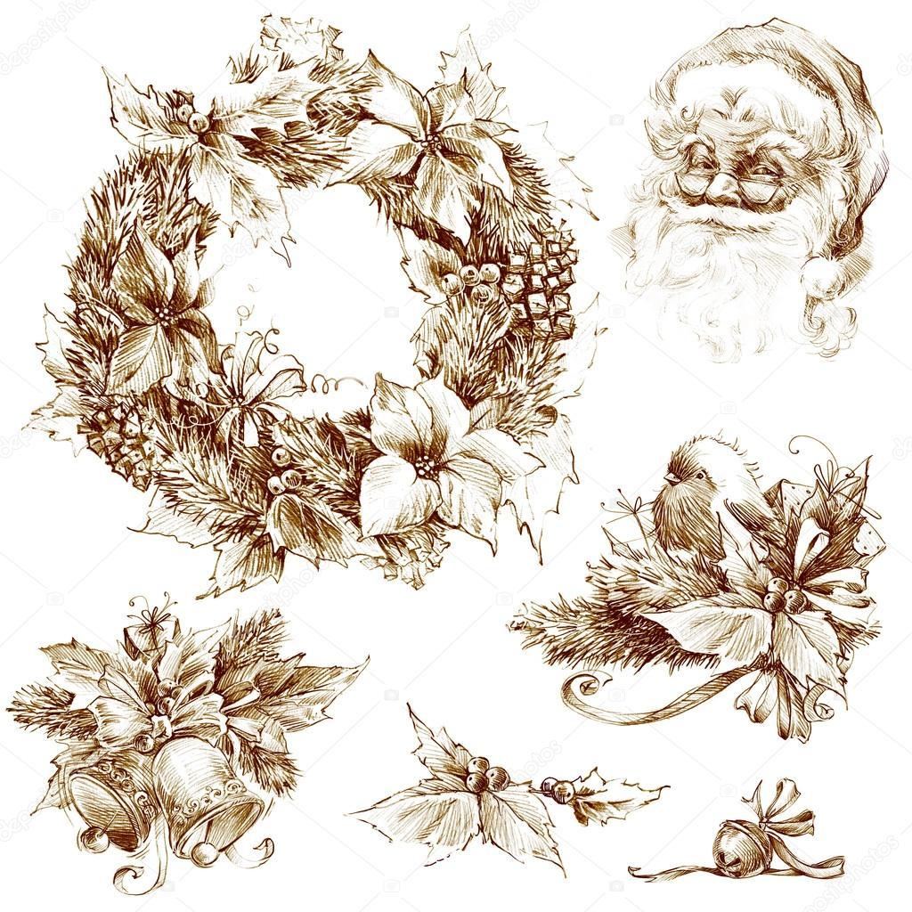 Desenho De Natal. Esboço De Retrato Do Papai Noel. Desenho