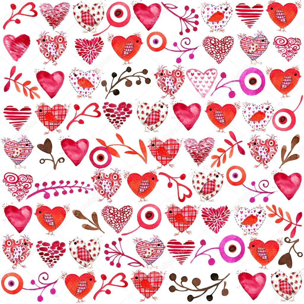 valentine day background valentines fond d 39 aquarelle fleurs et oiseaux avec coeur rouge pour. Black Bedroom Furniture Sets. Home Design Ideas