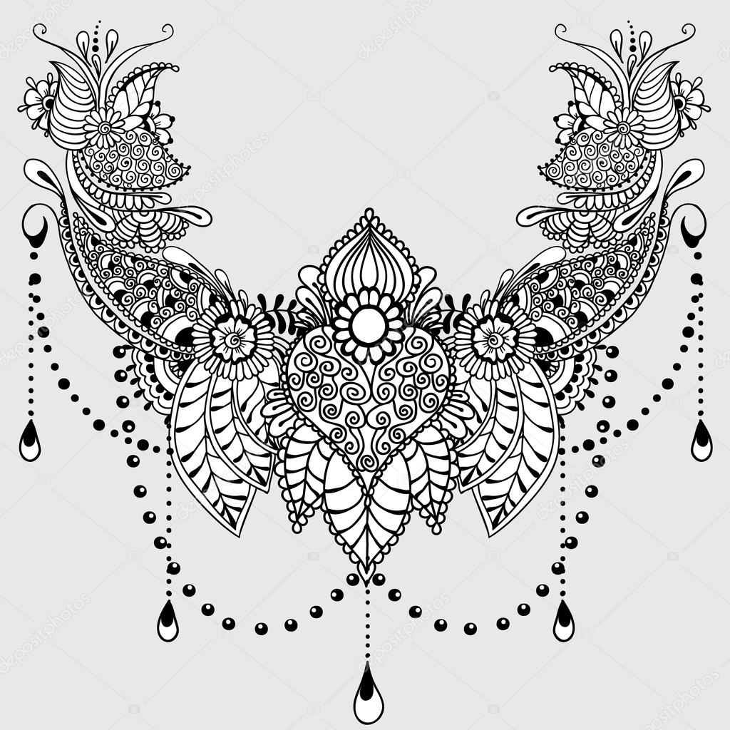 Mehndy Bloemen Tattoo Sjabloon — Stockvector &169 Xarlyxa