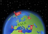 Earth with sale banner in Europe — Stock Vector