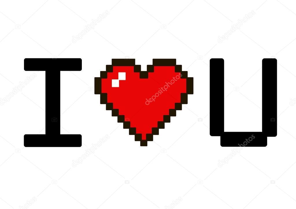 i love you pixel stock vector drubanick 61753559. Black Bedroom Furniture Sets. Home Design Ideas