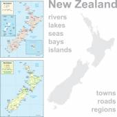 Detailed maps of New Zealand. — Stock Vector