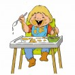 Two-year-old boy cartoon is having pasta in a high chair using spoon- illustration. — Stock Vector #66586015
